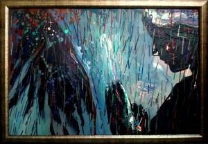 Rain, mixed media on canvas, 90x60cm