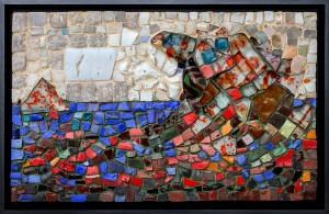 Sea, smalt, glass, stone, 30cmx49cm, 2018